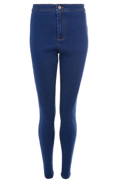 Donkerblauwe jeans met hoge taille