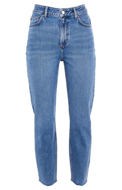 Jeans mom blu a gamba dritta