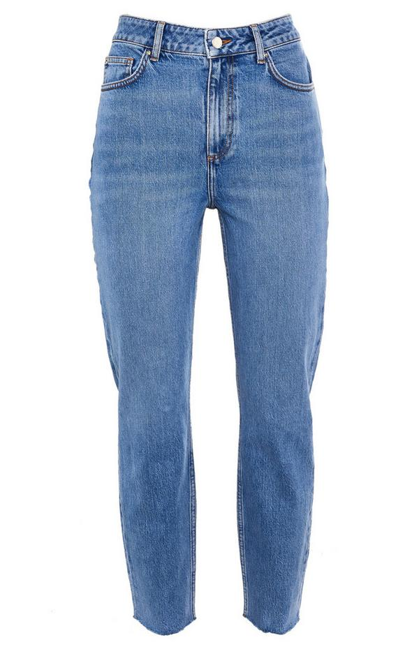 Blue Slim Straight Leg Mom Jeans