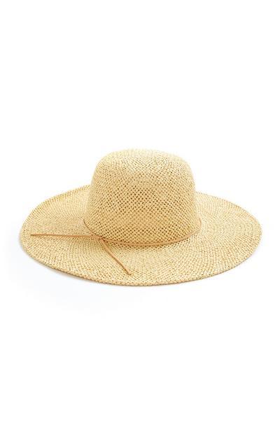 Chapéu sol fluído flat top palha