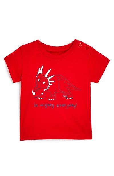 Rdeča fantovska majica z dinozavrom za dojenčke