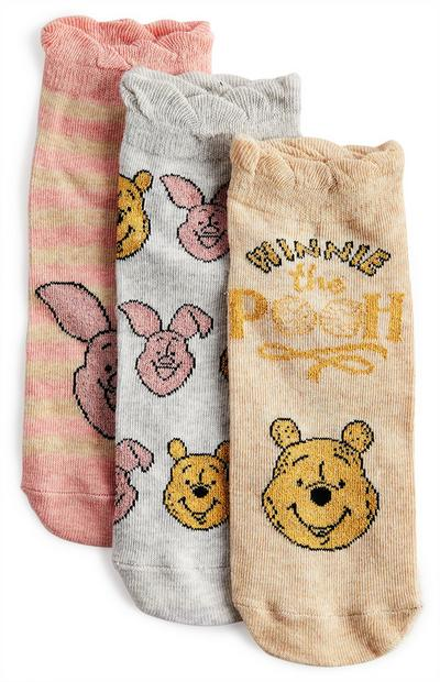 Pack de 3 pares de calcetines de color rosa, gris y marrón claro de Winnie the Pooh