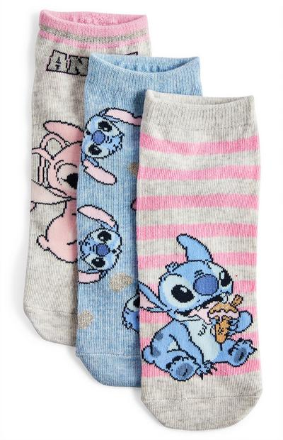 Pack de 3 calcetines Stitch y Angel de color rosa y azul