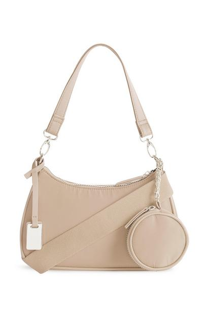 Nylon Beige 3-In-1 Crossbody Bag