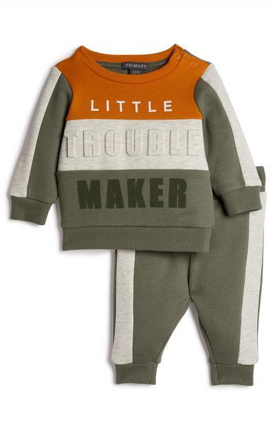 Ensemble de loisirs kaki Trouble Maker bébé garçon