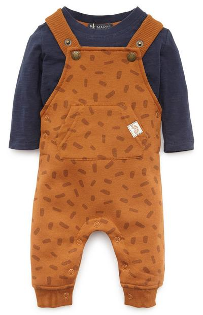 Baby Boy Mustard Dungaree Set