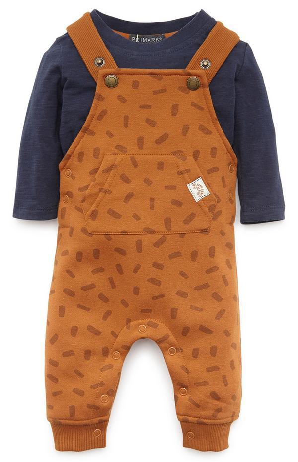 Baby Boy Mustard Overalls Set