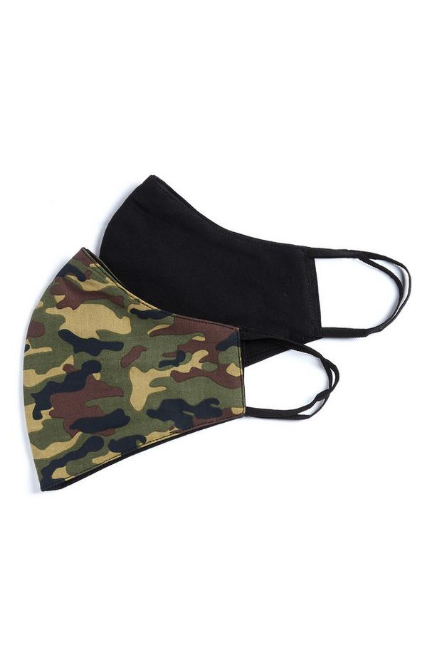 Black And Camouflage Face Coverings 2 Pack