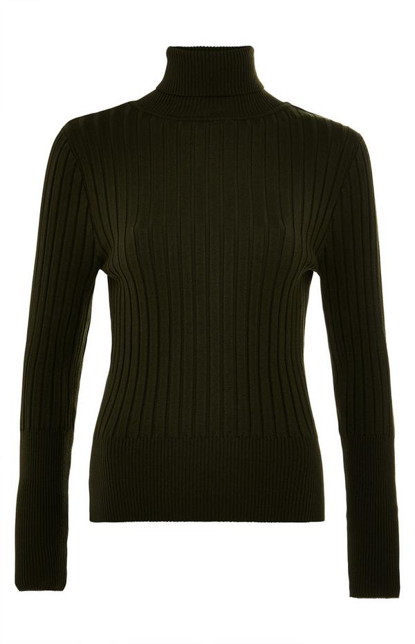 Premium Army Green Ribbed Sweater