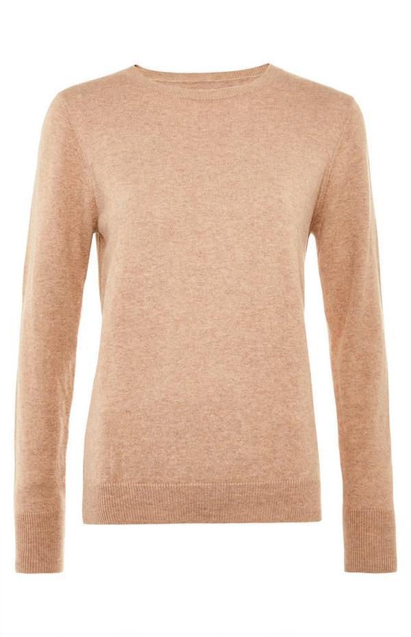Premium beige trui van kasjmiermix