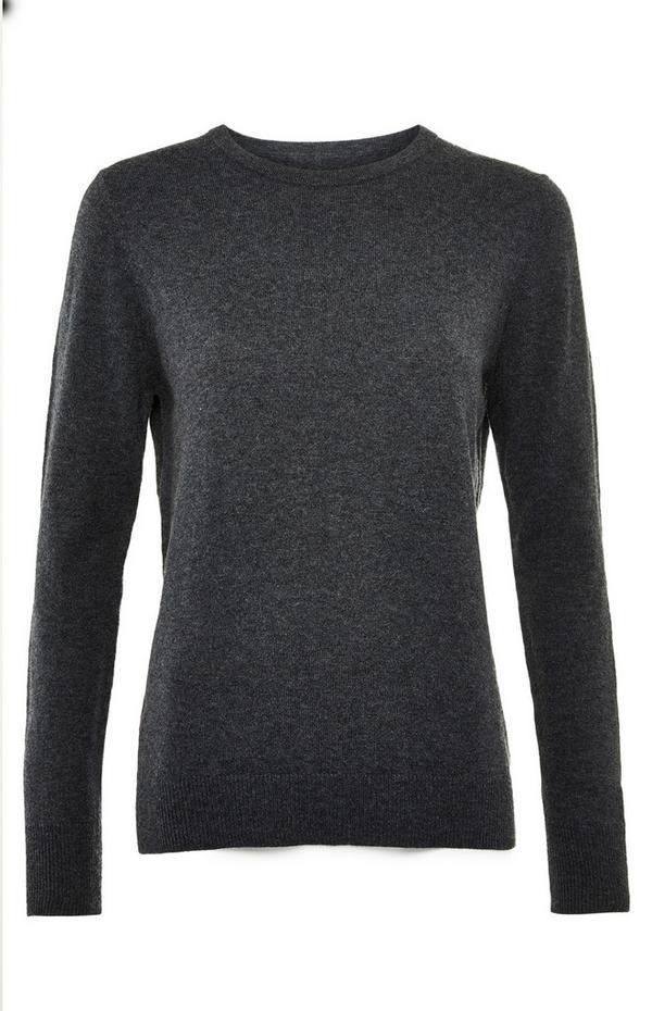 Premium grijze trui van kasjmiermix