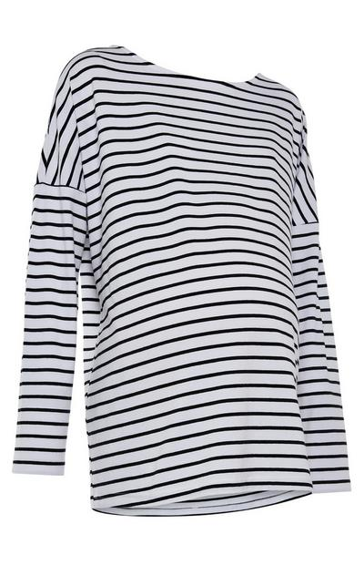 Black and White Striped Maternity Long Sleeve Top