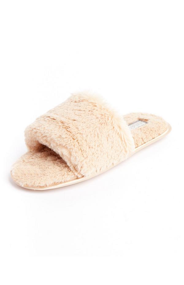 Beige Faux Fur Slides