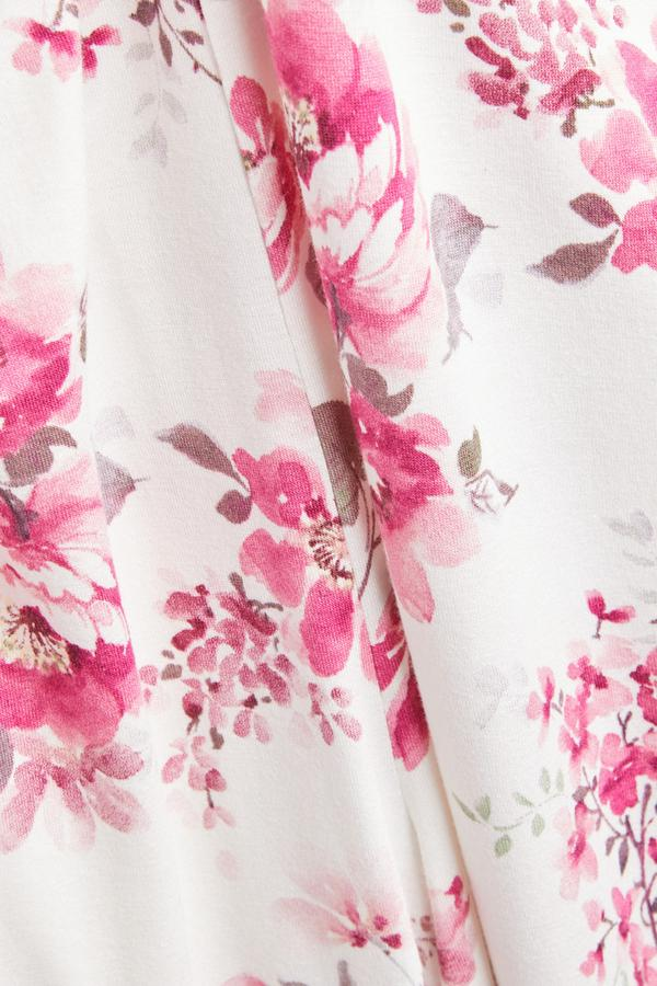 Ivory And Pink Rose Print Pajama Pants