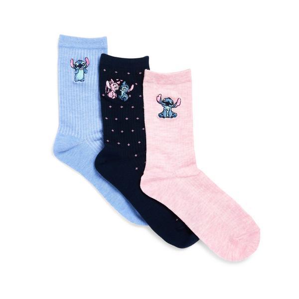 Lot de 3paires de chaussettes brodées Stitch bleue, rose et bleu marine