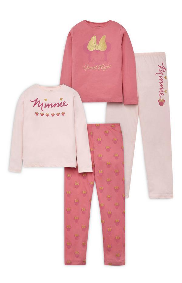 Older Girl Pink Disney Minnie Mouse Pyjamas 2 Pack