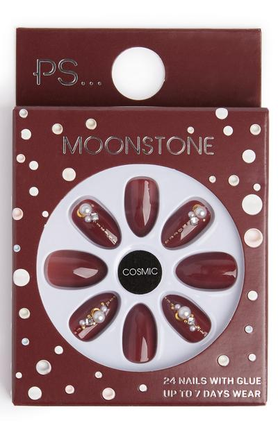 Burgundy Almond Shaped Press On Embellished Nails