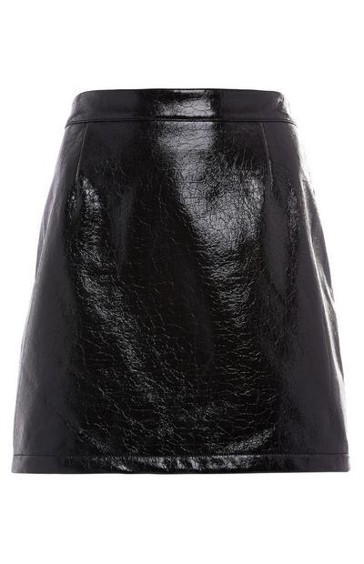 Minigonna nera in finto coccodrillo