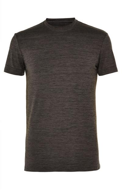 Anthrazitfarbenes Rundhals-T-Shirt mit Super Stretch