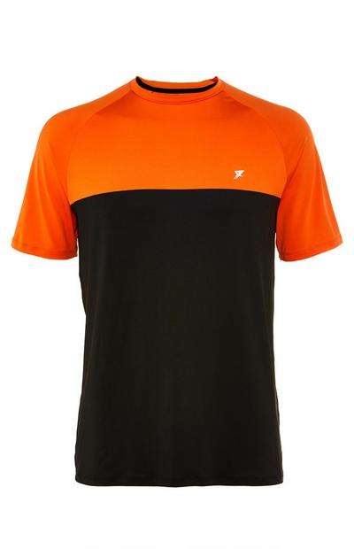 T-shirt color block noir et orange