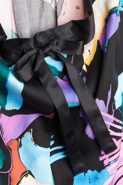 Zwarte wijdvallende pyjamabroek met abstracte print