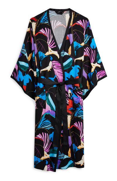 Zwarte kimono met abstracte print