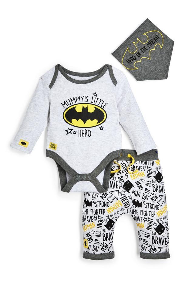 Newborn Baby Boy Grey Batman Leggings Bodysuit And Bib 3 Piece Set