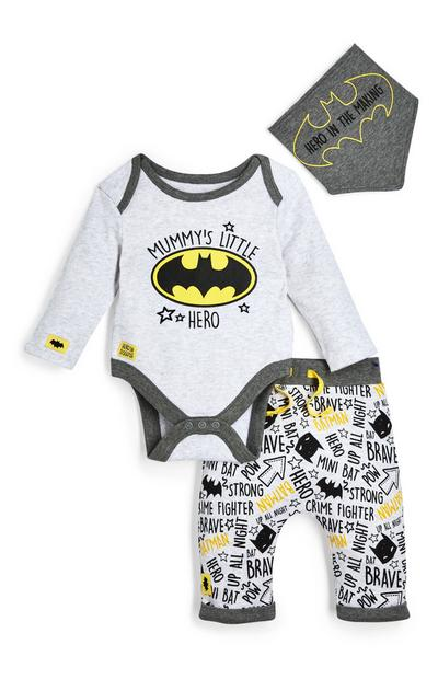Newborn Baby Boy Grey Batman Leggings Bodysuit And Bib 3 Piece Set