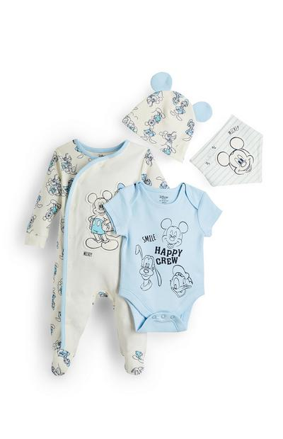 Newborn Baby Blue And Cream Disney Mickey Mouse 4 Piece Set