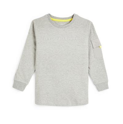 T-shirt manga comprida c/ bolso menino cinzento