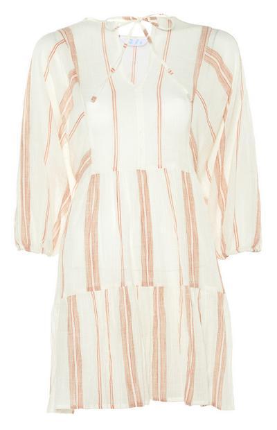 Sheer-Striped Long Sleeve Dress