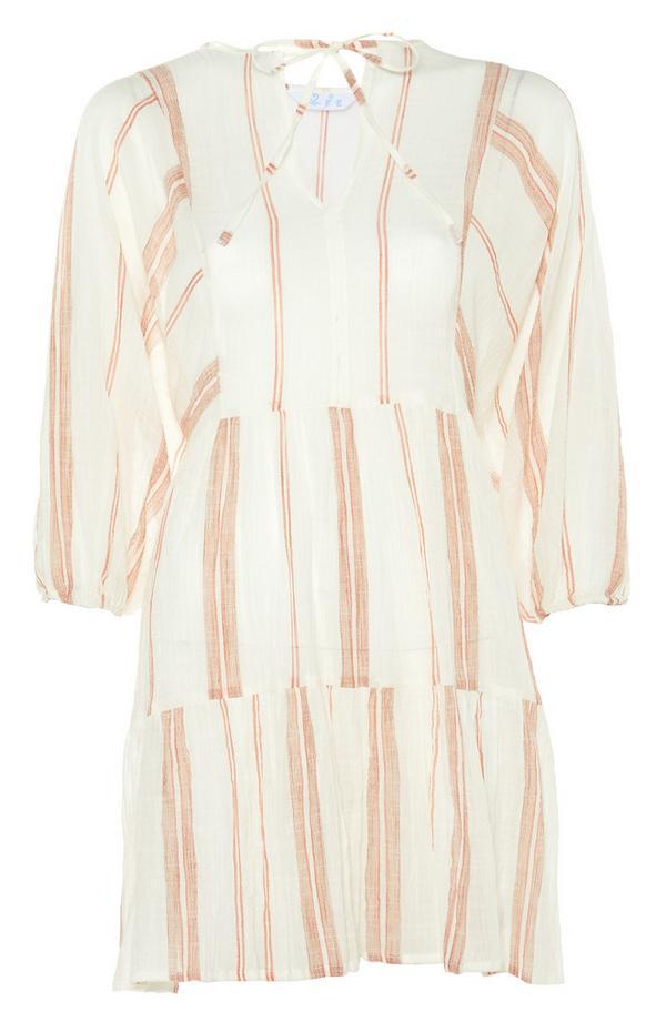 Vestido escalonado color marfil de rayas