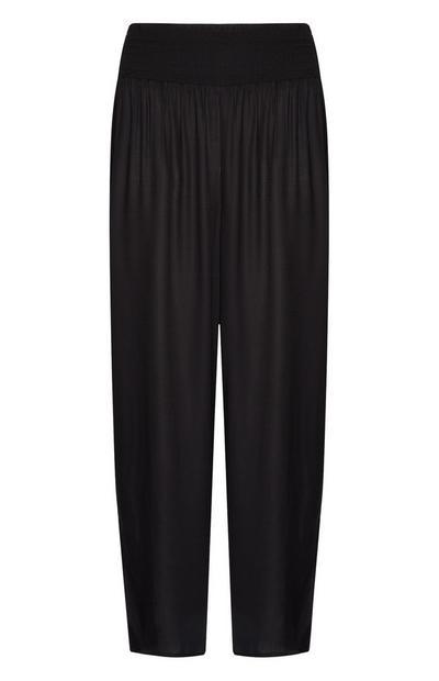 Black Viscose Beach Trousers