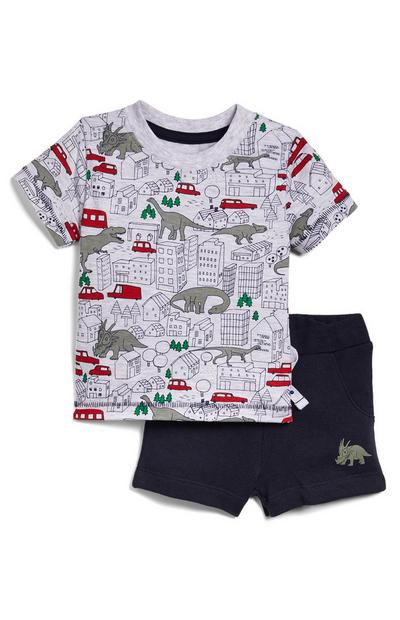 Fantovski komplet majice s kratkimi rokavi z dinozavri in kratkih hlač iz džersija za dojenčke
