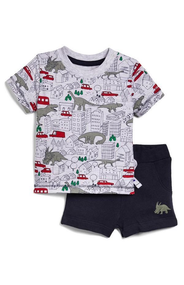 Baby Boy Jersey Dino T-Shirt And Shorts Set