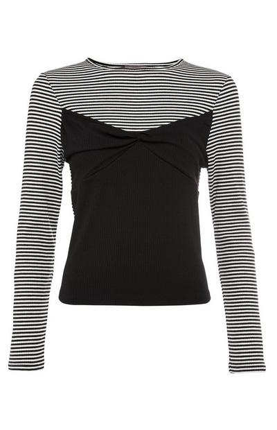 Black and Striped Long Sleeve Layered Top