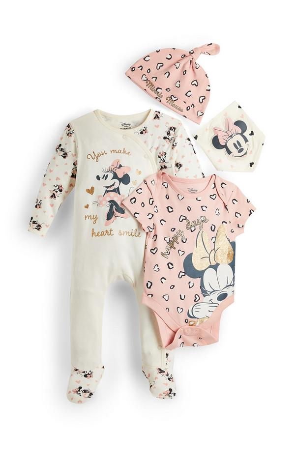 Newborn Baby Girl Pink Disney Minnie Mouse Outfit 4 Piece Set