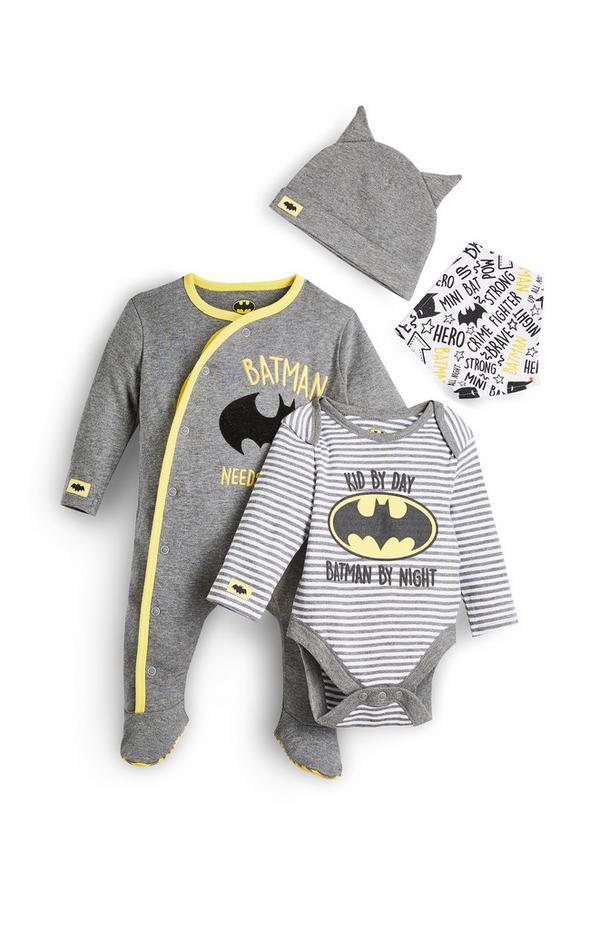 Newborn Baby Boy Grey Batman Outfit 4 Piece Set