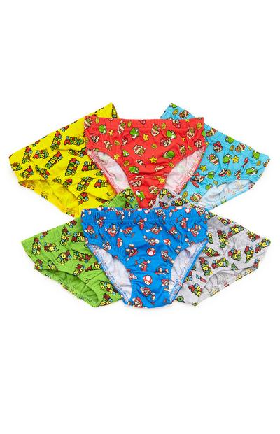 Boys Multicoloured Mario Briefs 6 Pack