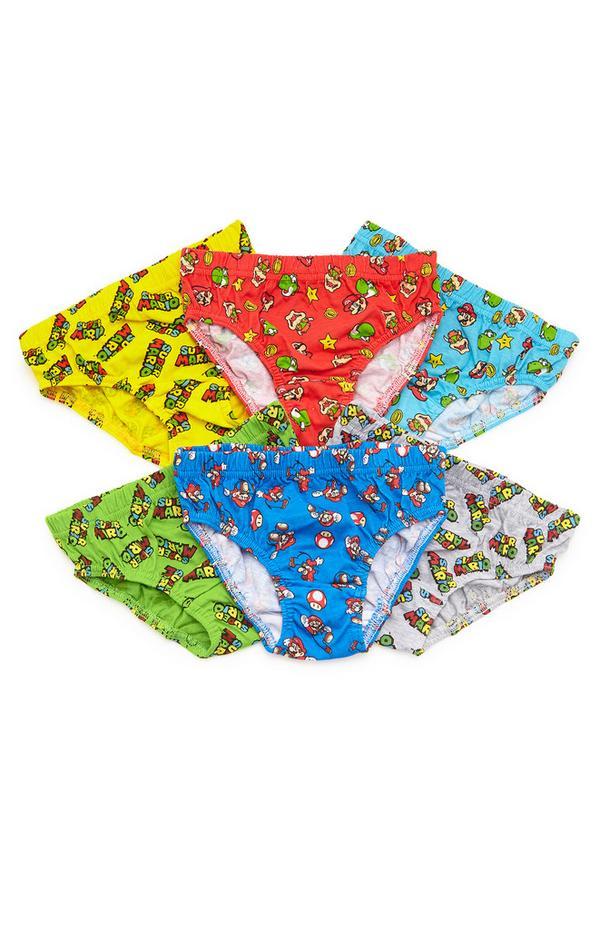 Lot de 6 slips Mario multicolores garçon