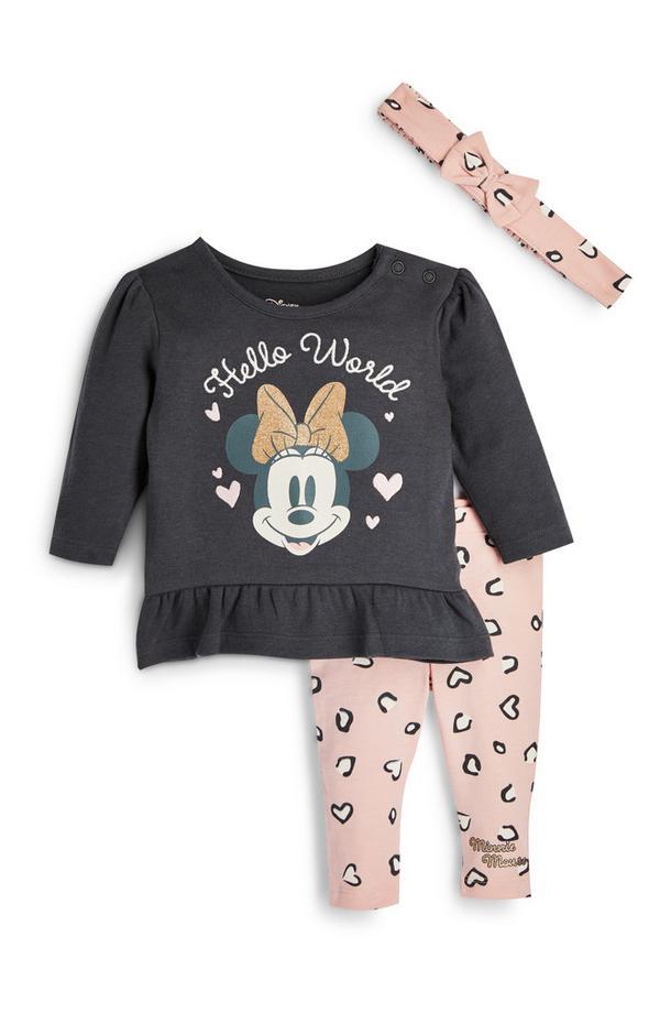 Newborn Baby Girl Disney Minnie Mouse Leggings T-Shirt And Headband 3 Piece Set