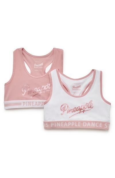 """Pack de 2 tops blanco y rosa con mensaje """"Pineapple"""" para niña"""