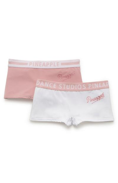 Lot de 2 shortys rose et blanc à motif ananas fille