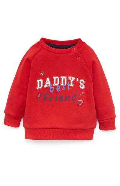 Baby Boy Red Daddys Best Friend Crew Neck Sweater