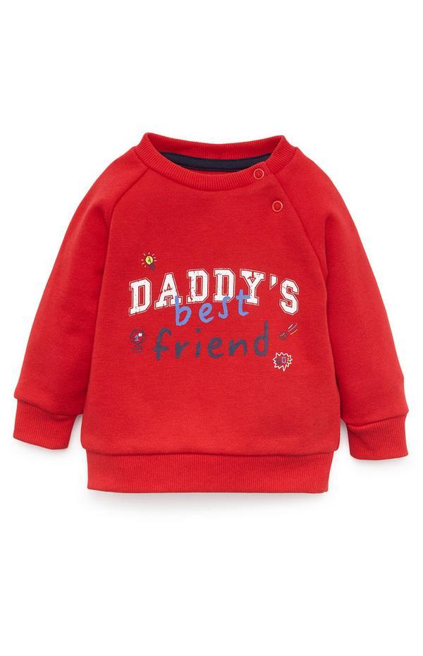 Baby Boy Red Daddy's Best Friend Crew Neck Sweatshirt