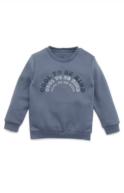 Younger Boy Navy Slogan Print Crew Neck Sweater