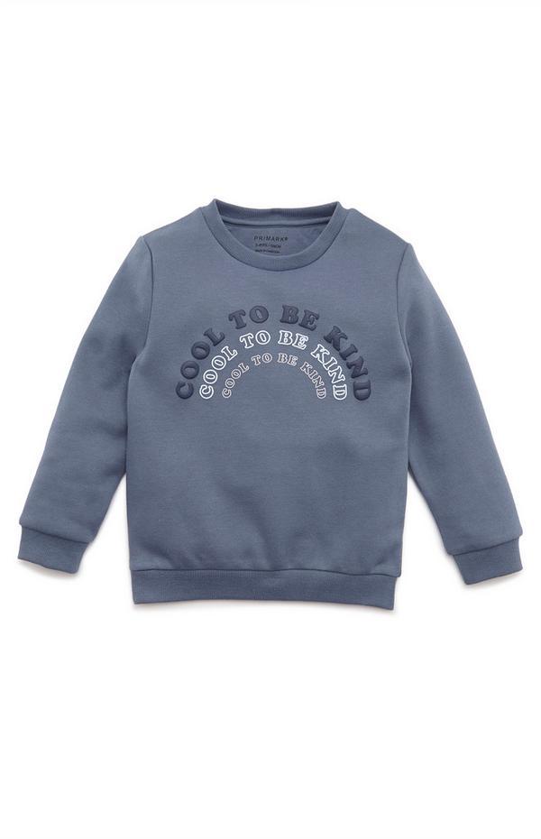 Younger Boy Navy Slogan Print Crew Neck Sweatshirt