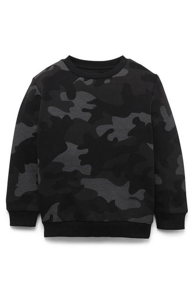 Younger Boy Black Camo Crew Neck Sweater