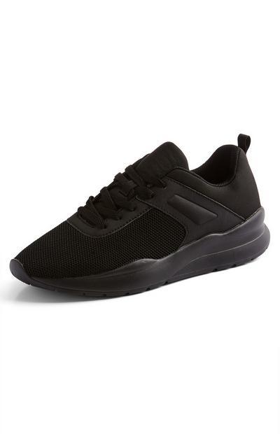 Black Chunky Embossed Sneakers