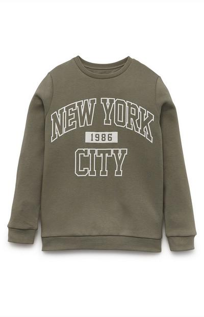 Kaki sweater New York City met ronde hals voor jongens